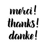 Thank you phrase, Hand drawn black lettering, photo overlay in vintage style. Thanks, merci, danke in english, french, german Royalty Free Stock Photos