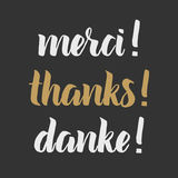 Thank you phrase, Hand drawn chalk lettering, photo overlay in vintage style. Thanks, merci, danke in english, french, german. Stock Photos