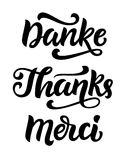 Thank you phrase, hand written lettering in german, english and french vector illustration