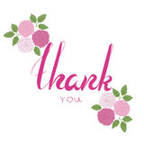 Thank you phrase with pink flowers. Stock Photo