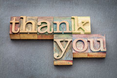 Thank you phrase in wood type Royalty Free Stock Images