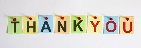 THANK YOU phrase is written on multi-colored stickers, on the white background. Business concept, strategy, plan