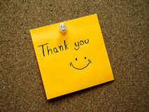 Thank you on post it note Royalty Free Stock Images