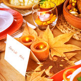 Thank you postcard. Thanksgiving day, post card on festive table with text, thank you, holiday dinner, candle light, beautiful decoration, happy celebration Stock Photo