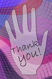 Thank you poster with inscription Thank you on the palm with  wavy background Royalty Free Stock Photos