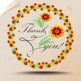 Thank you poster in retro style with colorful wreath. Drawing on background like old tissue paper with rolled corner. Royalty Free Stock Photos