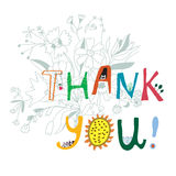 Thank you print with flowers and lettering Stock Images