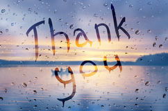 Thank you. Rain on glass with Thank you text Stock Photos