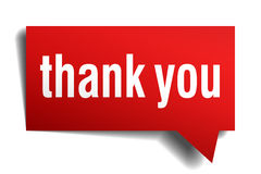 Thank you red 3d realistic paper speech bubble Stock Photo