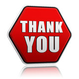 Thank you in red hexagon banner Royalty Free Stock Photos