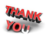 Thank you red on white thanks 3d title Royalty Free Stock Photo