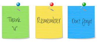 Thank you remember don't forget. Push pin notes with text thank you, remember, don't forget on the white background Royalty Free Stock Image