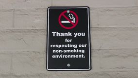 Thank you for respecting our non-smoking environment sign. On wall stock video