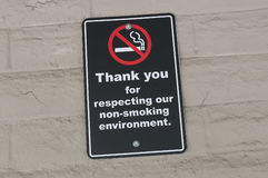 Thank you for respecting our non-smoking environment sign Royalty Free Stock Photos