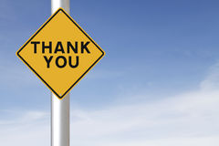 Thank You. A road sign indicating Thank You royalty free stock photo