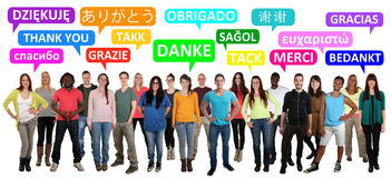 Thank you saying multi ethnic group of young people. In different languages Stock Photo