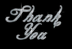 Thank You in Script Diamond Bling Letters. Stunningly beautiful script Thank You set in diamonds and silver Stock Images