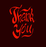 Thank you script hand. Lettering vector illustration Royalty Free Stock Images