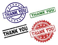 Scratched Textured THANK YOU Stamp Seals vector illustration