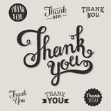 Thank you set. Thank you. Inscriptions made by hand on a gray background Stock Photos