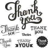 Thank you set. Thank you lettering by hand. On a white background Royalty Free Stock Images
