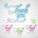 Thank you. Set thank you vector calligraphic inscription royalty free illustration