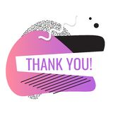 Thank you shape. Trendy 2019 gradient flat geometric print, retro style. Simple minimal pinky typography phrase. Modern Creative royalty free illustration