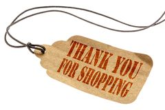 Thank you for shopping sign on price tag Royalty Free Stock Image