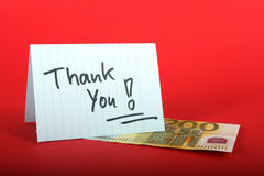 Thank you sign. And two hundred eur on the table Royalty Free Stock Image