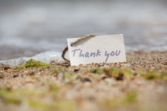 Thank you - sign on the beach Royalty Free Stock Photo