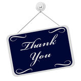 Thank You Sign. A blue and white sign with the words Thank You isolated on a white background Royalty Free Stock Photo