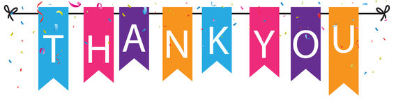 Thank you sign with colorful bunting flags Royalty Free Stock Images