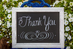 Thank-you sign stock photo