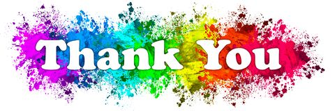 Thank you sign. An illustrated thank you sign on a colorful splatter background vector illustration