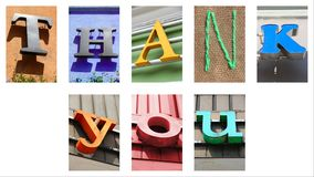 Thank you sign. Made of city colorful letters Stock Images