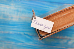 Thank you sign on old book - vintage style.  Royalty Free Stock Image
