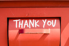 Thank you sign. A recycling bin in red, saying thank you, England UK Royalty Free Stock Images