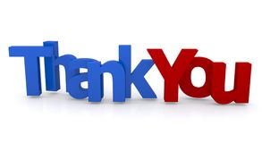 Thank you sign. Red and blue 3d letters spelling words thank you, white background