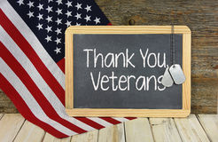 Thank you sign for veterans on chalkboard