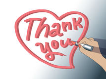 Thank you sign woman hand draw heart. Stock Image
