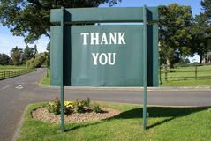 Thank you sign. A wooden sign thanking clients or customers or the public or visitors for their visit Stock Photography