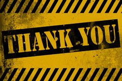 Thank You sign yellow with stripes Stock Image