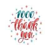 1000 Thank You. Social media lettering design. Handwritten phrase, vector illustration Royalty Free Stock Photography