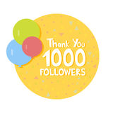 Thank You social network followers concept. Vector illustration.  Royalty Free Stock Photography