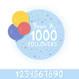 Thank You social network followers concept. Vector illustration.  Stock Images
