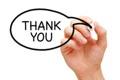 Thank You Speech Bubble Concept. Hand sketching Thank You speech bubble concept with black marker Royalty Free Stock Photo
