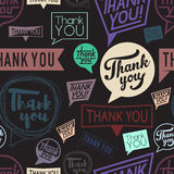 Thank you speech in different style. Seamless pattern Stock Images