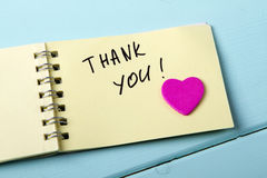 Thank You, A spiral Notepad t royalty free stock image