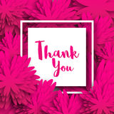 Thank you. Spring Floral Card with pink Origami Flowers. Stock Photography
