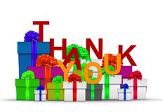 Thank you on stack of gift boxes. Over white Royalty Free Stock Photos